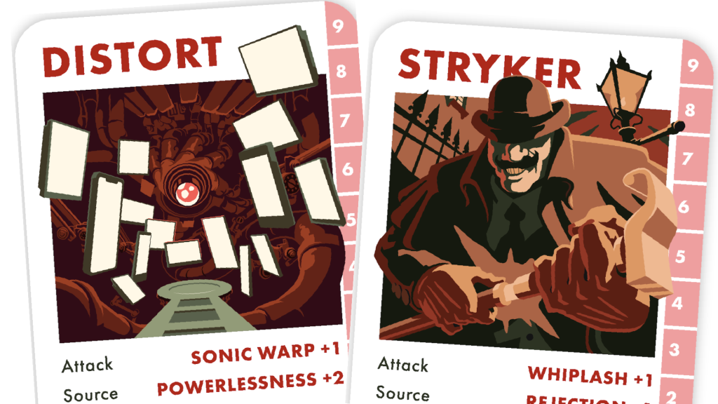 Two Echo cards, partially visible. The cards are Distort, an immersive alien-esque computer, and Styker, a leering bully with a Victorian sense of style.