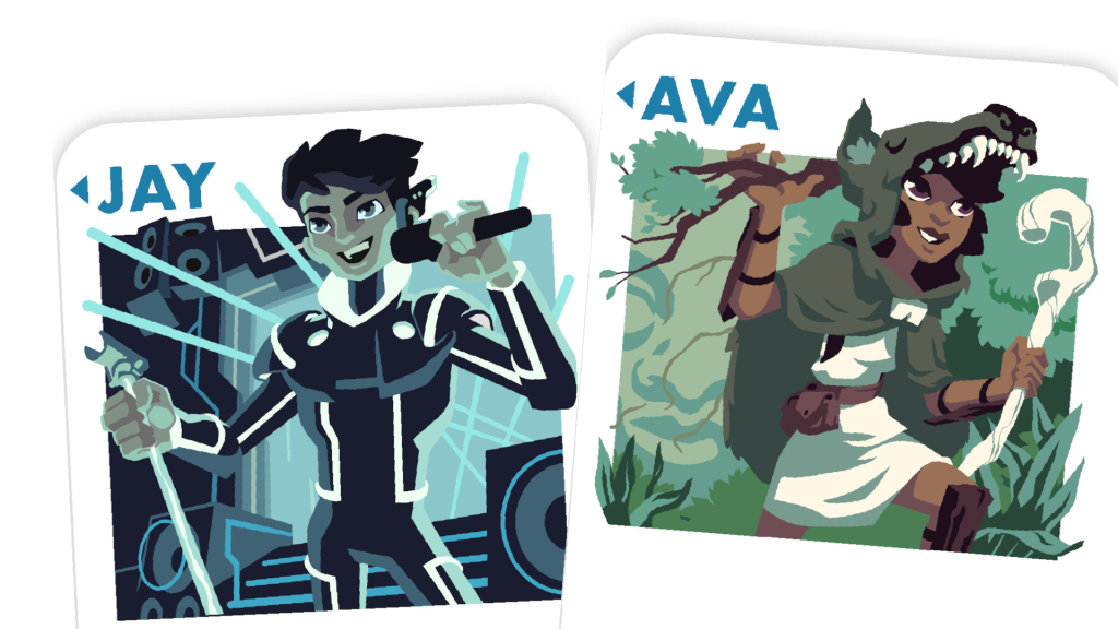 Two Hero cards, partially visible. Jay is stood on stage in front of lasers and speakers, performing before an unseen audience. Eva is exploring through a forest, dressed for adventure in a wolf-skin cowl, a staff, and shin pads made of bark.