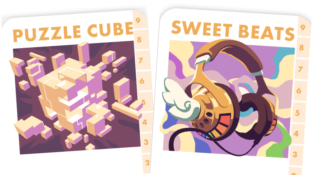 Two Power cards, partially visible. They are Puzzle Cube, a complex 3D puzzle that must be solved, and Sweet Beats, a pair of winged golden headphones emitting music and good vibes.